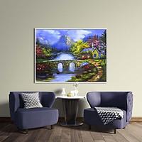 Tranh canvas phong cách sơn dầu - Phong cảnh Làng quê châu Âu - PC032