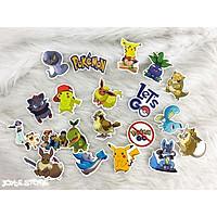 Bộ 50 Sticker (nhãn dán) HOẠT HÌNH POKEMON - PVC chống nước dán nón bảo hiểm, ghi-ta, tủ lạnh, máy tính