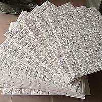 bộ 40 miếng xốp dán tường giả gạch 3d mầu trắng t79