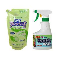 Combo Nước Rửa Chén Hương Chanh Rocket+ Chai Xịt Làm Sạch Đồ Dùng Nhà Bếp Hiệu Quả - Nội Địa Nhật Bản