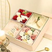 Set quà tặng hoa hồng sáp kèm nến thơm