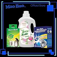 Combo: Chai Nước Giặt Baking Soda Mao Bao 2Kg + Hộp Chất Vệ Sinh Lồng Máy GiặtMao Bao ChứaIon Bạc Ag+ 306g+ Hộp Chất Làm Sạch Bình Đun Nước Mao Bao 25g x 2 gói
