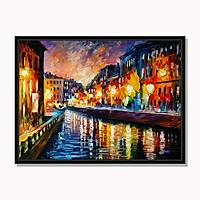 Tranh cao cấp Đêm trên kênh nhỏ trong thành phố cổ Model: AZ1-0268