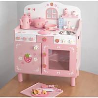 Bếp Nguyên khối  hồng 1 dâu kèm chân kê- đồ chơi gỗ