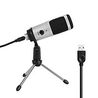 Condenser Microphone USB Microphone Karaoke Recording Broadcasting Podcasting with Clip Tripod Plug and Play for Laptop