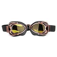 Helmet Eyewear Goggles Motorcycle Bike Vintage Pilot Biker Black Lens Anti-Fog (Copper Frame)