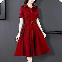 Đầm Xòe Nữ Công Sở Kiểu Đầm Xòe Cổ Sơ Mi Phối Nút - THỜI TRANG CÔNG SỞ NỮ ROMI 3306 - ĐỎ - L 50-55KG