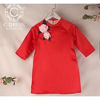 Áo dài cách tân cho bé, áo tân thời cho bé màu đỏ cho bé diện tết ( không gồm váy)