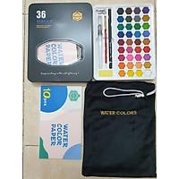 (Tặng cọ tỉa số 1 ) Bộ 36 Màu Nước Keep Smiling Cao Cấp Kèm Bút Nước, Bút Lông, Bút Chì, Gọt Chì, Miếng Mút
