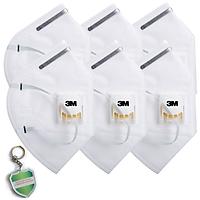 6 cái Khẩu trang chống bụi siêu mịn PM2.5 chính hãng - 3M 9001V có van thở, kháng khuẩn và tặng móc treo khóa mica