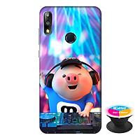 Ốp lưng điện thoại Asus Zenfone Max Pro M2 hình Heo Con Làm DJ tặng kèm giá đỡ điện thoại iCase xinh xắn - Hàng chính hãng