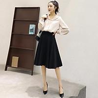 Chân Váy Xòe Dài Qua Gối Lưng Cao Thời Trang Cho Nữ