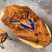 Bàn gỗ nguyên tấm kết hợp Epoxy phù hợp cho không gian uống trà, sofa KE20009