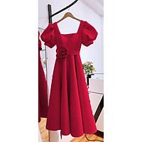 Đầm dự tiệc tay ngắn phối hoa eo TRIPBLE T DRESS - size M/L (kèm ảnh/video thật) MS74Y