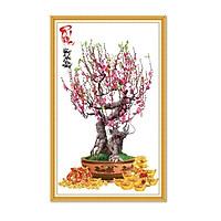 Tranh dán tường chậu hoa đào chưng tết LunaTM-0669
