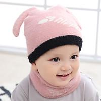 Cute Cat Ears Hats Winter Children Hats Knitted Baby Girls Boys Hat Warm Velvet Scarf  for Kids Autumn