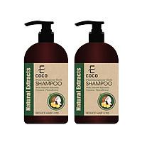 Combo 2 chai dầu gội dươc liệu giảm rụng tóc với chiết xuất dừa, hà thủ ô Ecoco 336g