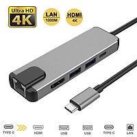 Type C Hub HDMI USB C Hub to Gigabit Ethernet Rj45 Lan Adapter for Macbook Pro Thunderbolt 3 USB-C Charger Port