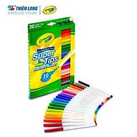 Bộ 20 màu bút lông nét mảnh - nét đậm có thể rửa được Crayola Supertips Washable Marker