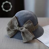 Mũ vải sợi chống nắng đính nơ thời trang dành cho nữ