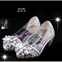 Giày cao gót cho bé gái 10 - 12 tuổi trong suốt lấp lánh - Giày thủy tinh guốc cao gót 4-5 phân điệu đà duyên dáng GA09