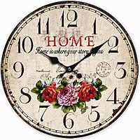 Đồng hồ treo tường Vintage Phong cách Châu Âu size to 30cm DH21 Hoa hồng