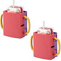 Combo 2 giá đựng hộp sữa có quai cầm mầu hồng cho bé nội địa Nhật Bản