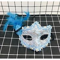 Mặt nạ nửa mặt lông vũ ren hoa hoá trang halloween ( giao mẫu ngẫu nhiên )