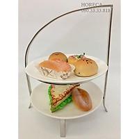 kệ trưng bày buffet inox 2 tầng, giá dùng để trang trí trưng bày thức ăn cho các buổi tiệc
