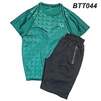 Bộ quần áo thể thao nam vải thun lạnh mềm siêu mát loại đồ bộ thể thao cổ tròn mặt thoải mái BTT04