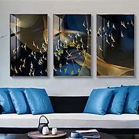 Tranh treo tường, tranh đồng hồ NT176 bộ 3 tấm ghép