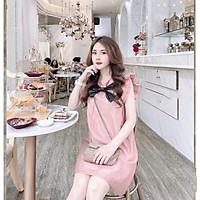 Váy bầu thời trang thiết kế nơ chất voan hai lớp freesize từ 45 đến 70kg