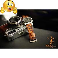 Dây đồng hồ cho Casio AE1200 WHD và Seiko 5 37mm - Da dê Vân trăn rằn ri vàng cực đẹp .
