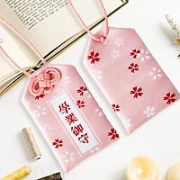 Túi gấm Omamori học tập hồng nhạt có kèm túi chống nước Túi Phước May Mắn dây treo trang trí