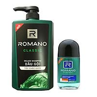 Combo Dầu gội Romano Classic 650ml+Lăn khử mùi Romano Classic 50ml
