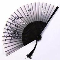 Quạt cổ trang dây tuyến hình bướm lượn màu đen tặng ảnh thẻ quạt xếp cầm tay phong cách Trung Quốc tặng ảnh thiết kế vcone