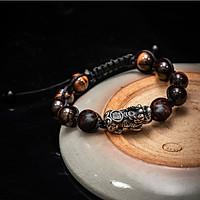 Vòng tay phong thủy thời trang handmade thủ công đá mắt hổ nâu vàng kết hợp gỗ sưa đỏ tỳ hưu dây đan shamballa phật giáo