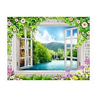 Tranh dán tường cửa sổ 3D | Tranh trang trí 3D | Tranh phong cảnh đẹp 3D | T3DMN_T6_026