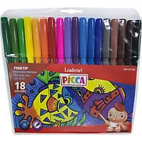 Bút màu nước Leaderart WM-0018W cho trẻ em với mực rửa trôi vượt trội- Vỉ 18 màu, có thể rửa sạch khi viết trên quần, áo, da..- Set 2 vỉ 18pcs