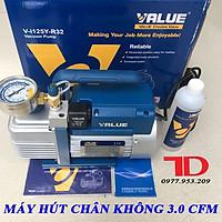 Máy hút chân không VALUE 3.0CFM V-I125Y kèm đồng hồ báo áp và rờ le tự ngắt hàng chính hãng