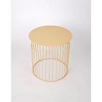 Bàn tròn Rudi GT-395, chất liệu sắt, sơn tĩnh điện màu be vàng, KT 48*48*50cm