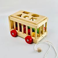 Xe cũi thả hình  phát triển khả ghi nhớ - đồ chơi trí tuệ bằng gỗ an toàn cho bé MK