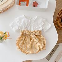 Bộ quần áo cộc tay cổ bèo lá sen cho bé gái sơ sinh Babi mama SS03
