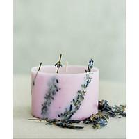 Nến sáp đậu nành màu tím nhạt, hương hoa lavender, trang trí cành lavender khô