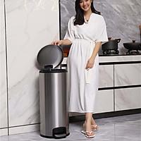 Thùng rác inox 30L đạp chân, Mã SJ30-Y01, Sử dụng cho bếp, Nắp đóng êm ái
