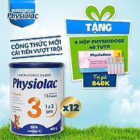 (Tặng 6 hộp Physiodose) 12 lon sữa bột Physiolac 3 400g