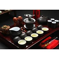 Bộ ấm trà Nhật Bản bằng sứ cổ khay gỗ 1 bộ như hình
