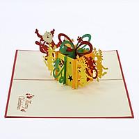 Thiệp 3D handmade, christmas 3D pop-up card Ông già Noel cùng hộp quà size 12x18cm CN112