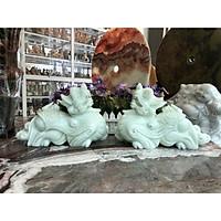 Cặp Tỳ Hưu phong thủy đá cẩm thạch trắng xanh - Dài 30 cm