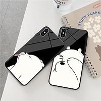 Ốp lưng kính cường lực đôi gấu trắng Dành Cho iphone 6 s plus 7 8 plus Xr X s max 11 11 pro max 12 mini 12 pro max